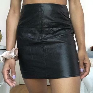 Missguided Black Leather Skirt